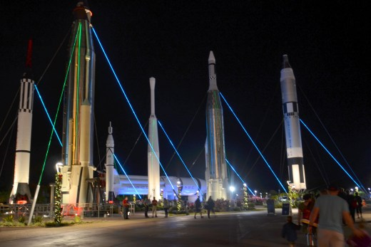 Rocket Garden in the wee hours at Kennedy Space Center