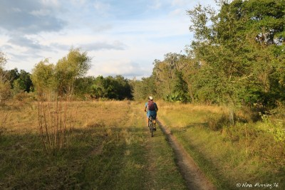 """Biking with Paul on one of the """"wimpy"""" trails (for my sake)"""