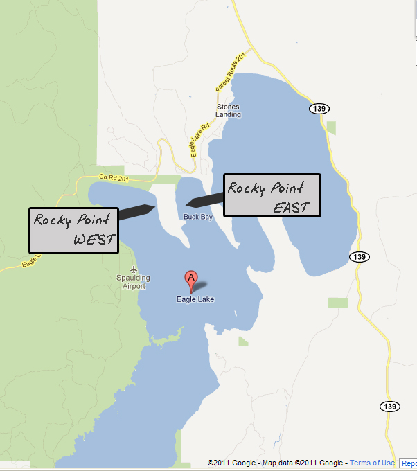 General map showing the 2 BLM boondocking areas around Rocky Point