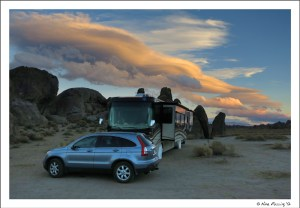 "Our boondocking spot lit by a ""Sierra Wave"" at sunset"
