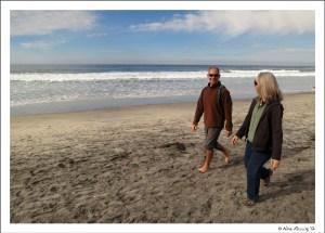 Afternoon stroll on Del Mar beach w/ buddies