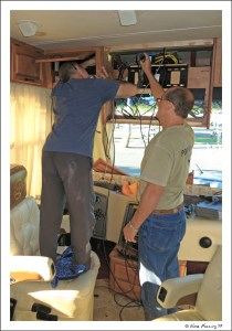 Drilling w/ help from our RV buddy Dave