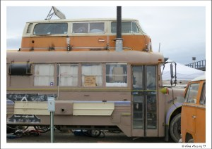 This unique rig is run on veggie oil and part of a roaming artist's colony