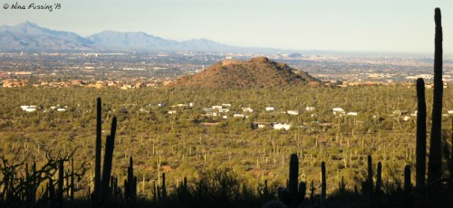 Panoramic of the campground from the Wind Cave Hike in Usery Mountain. Lots o' space here!