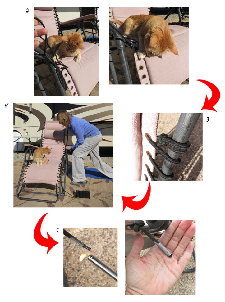 The steps to re-string a reclining chair (with cat)