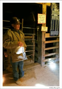 Our guide tells stories of the mine lift