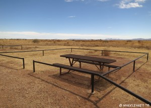 View of picnic table at the overnight camping area