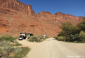 Back view of our site from the main campground road. RV in pull-through #10 behind it.