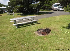 Picnic table and fire-pit at each site. This is one of the smaller sites B33.