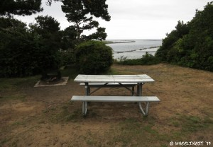 View of picnic table and fire-pit. This is premier site #13, the only one with a view.
