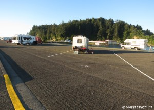 """View of RV's in """"interior"""" F Section. Sites are $11/night here."""