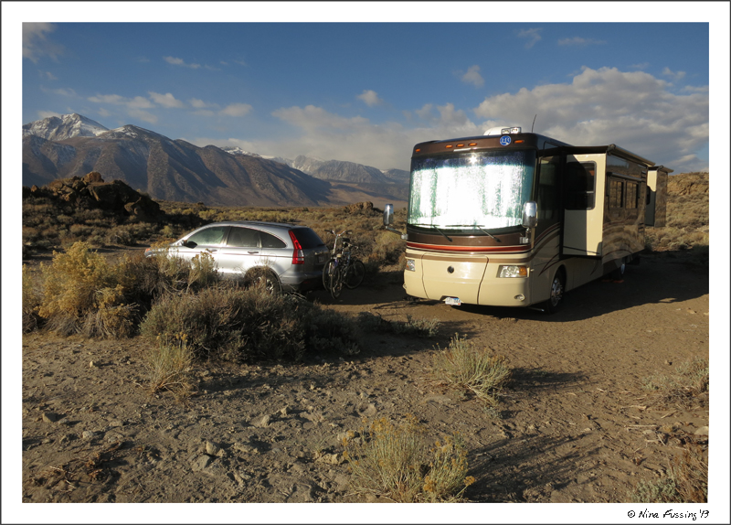 Squeezed into our site off Hot Creek Road