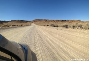 Entrance to Casa Diablo Road. The dirt road is wide & firm, but rather washboarded. First part goes up steeply.