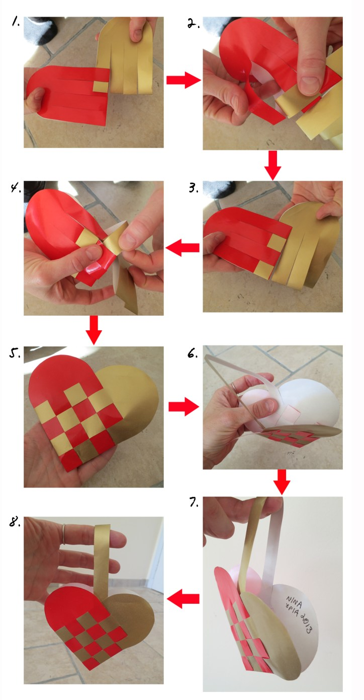 """1. Start weaving at the top end of your two pieces 2. Make sure to insert the """"leg' of the 1st piece completely inside the """"leg"""" of the 2nd piece"""