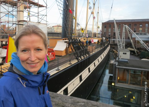 Sis poses in front of the big ship