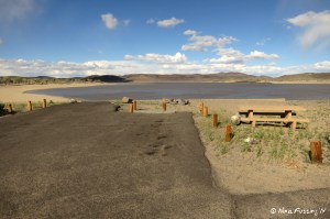 View of another lake-side site in the developed campground.