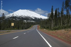 The Cascades Scenic Byway with Mt. Bachelor in the background