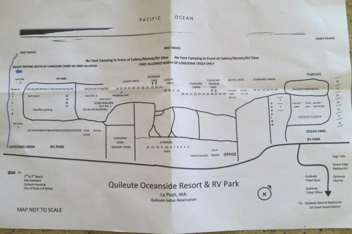 "Picture of park map. You want to stay in the northern sites (on right) #1-24 listed as ""Ocean Park"" on here."