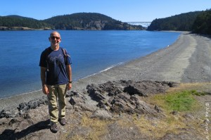 Hubby poses on the hike to Deception Pass Bridge