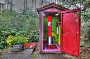 Bright paint, flowers & coziness. What a pit toilet!!