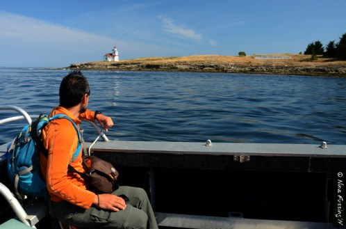 Mike checks out the Lighthouse from the boat