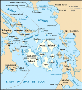 Map of the San Juan Islands (highlighted). Source; Wikipedia