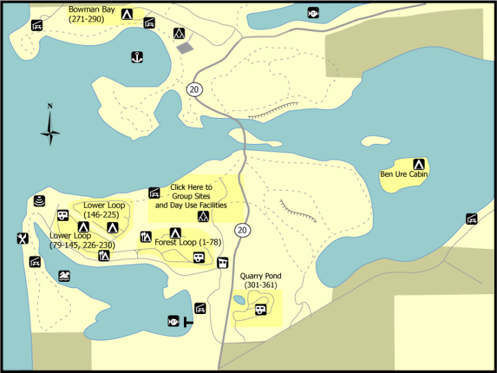 General map of the camping areas at Deception Pass State Park.