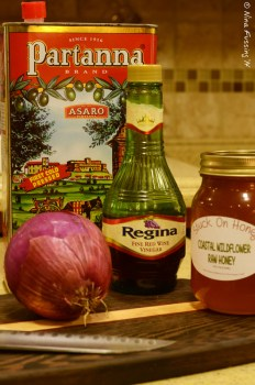 Great olive oil, vinegar and local honey. The ingredients couldn't be simpler!