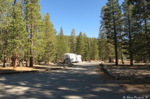View down one of the campground roads with rig in a site on the left.
