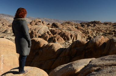 Cherie admires the view in the Alabama Hills