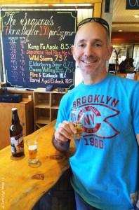 Now, there's a happy man. Sampling the brews at Mammoth Brewing Co
