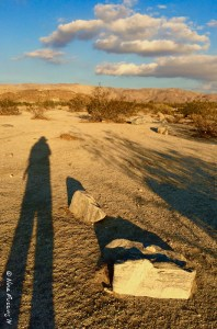 Walking into the desert sunset