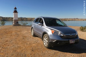 Our car parked by Mini Point Gratroit Lighthouse