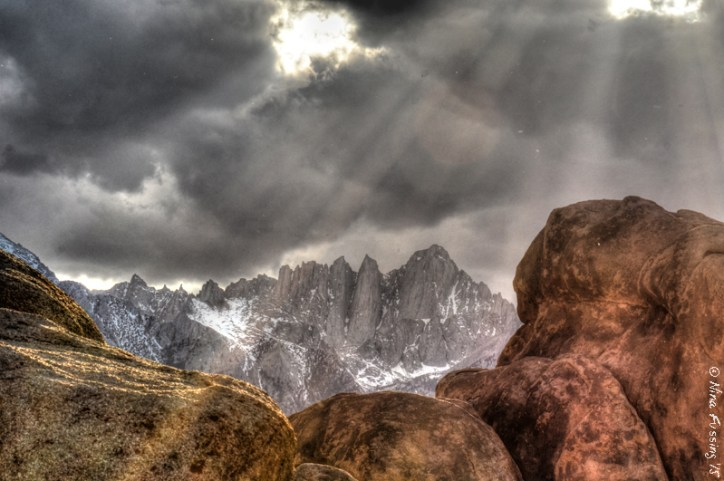 Rays of sun over Mt. Whitney. She does tease me so....