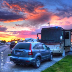 A colorful sunset at our RV park