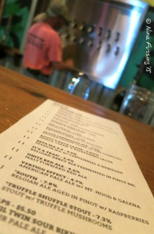 Specialty brew-list at the Fort George Tap Room
