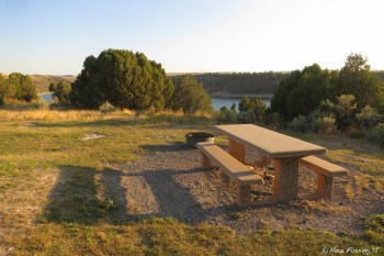 Picnic table and fire-pit in A14.