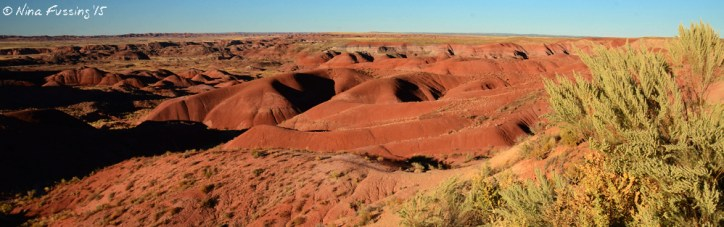 The red mounds at the north of the park near sunset