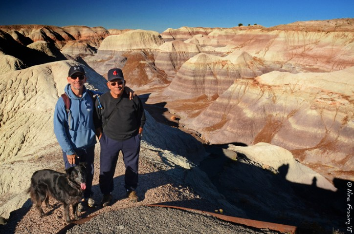 Polly, Paul and his dad pose on the top of the trail at Blue Mesa.