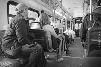 Buses are empty early on, but get full later in the day