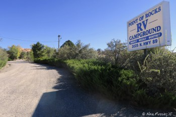 Entrance into Point of Rocks RV Park from SR89. This can be easy to miss by the way.