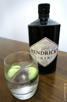 Proper gin & tonic with cucumber garnish. Yum!