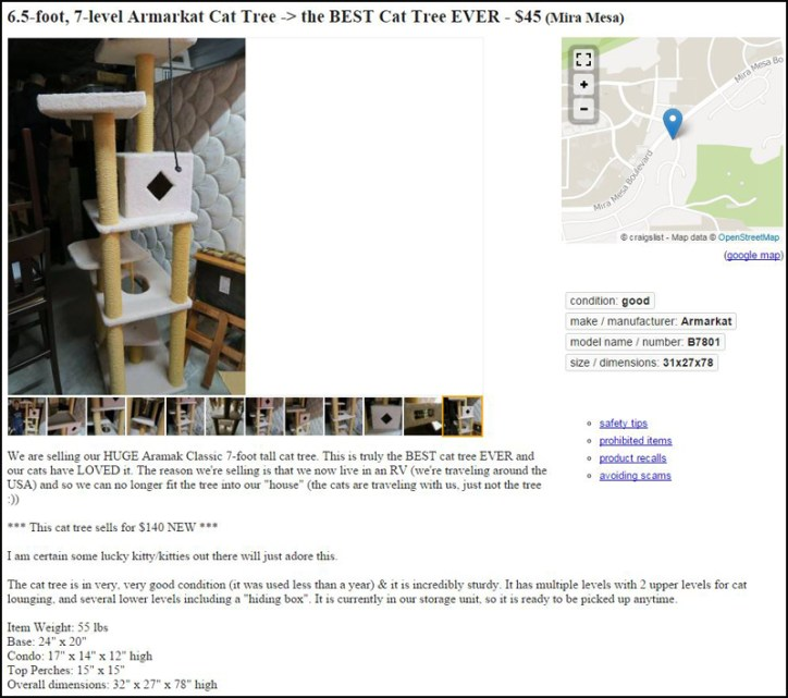 I always take lots of pics and add a story to my CL ads. Our cat tree got 7 responses and sold that afternoon.