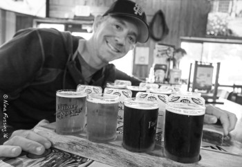 Double flight at Figeroa Mountain Brewing. Paul is one happy dude.