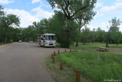 View of site #44. This was the only paved site in the campground and is near the entrance.