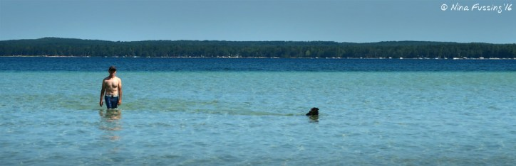 Our twice-daily wade with Polly. The shallow, sandy shore went out for at least 1/4 mile!