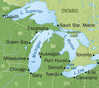 The great lakes make up 20% of the world's freshwater lake