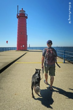 Walking towards Muskegon Light