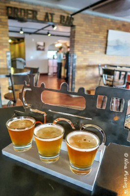 Beer flight at The Filling Station