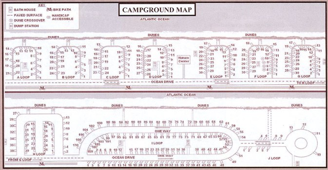 Detail (site-level) view map of campground.